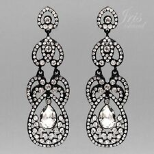 Black & White Crystal Rhinestone Chandelier Dangle Earrings 07920 Prom  Art Deco