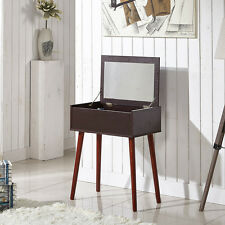 Dressing Table Makeup Storage Organizer Vanity Desk with Dressing Mirror,Walnut