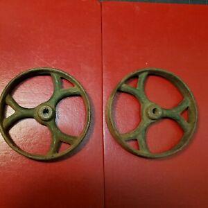 "(2) vintage 4  3/8"" Cast Iron Wheels Industrial Factory Table  Cart Wheels"