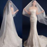 2M 3M 5M Wedding Veil One-tier Elbow Veils Lace Applique Edge With Comb US Stock