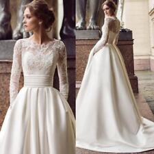 Vintage Long Sleeve Wedding Dresses Boat Neck Appliques Lace Satin Bridal Gown