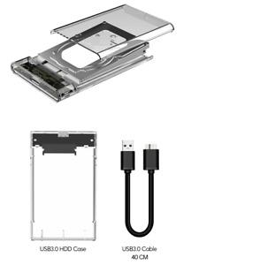 """2.5"""" SATA Hard Drive Case 3.0 Transparent External Enclosure Laptop Disk Case"""