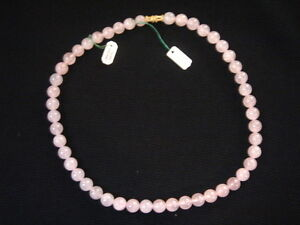Necklace Of Pearls IN Quartz Pink Vintage 70 New 15 11/16in/Necklace Old