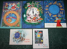 5 Vintage Postcards NEW YEAR CHRISTMAS SANTA CLOCK WATCH ZODIAC MOUSE USSR