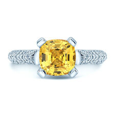Cushion Yellow Sapphire Diamond Ring 18k White Gold Womens Pave 2.71CT Solitaire