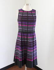 Anne Klein Purple Pink Black Striped Dress Fit and Flare Size 4 Office Career