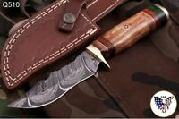 CUSTOM HAND FORGED DAMASCUS STEEL Hunting KNIFE W/ Wood Brass Guard HANDLE-Q 00