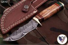 CUSTOM HAND FORGED DAMASCUS STEEL Hunting KNIFE W/ Wood Brass Guard HANDLE-Q 00