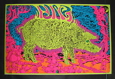 Vintage PIG Blacklight Poster Super Psychedelic Joe Roberts Jr Cocorico MINT NOS