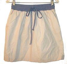 Love21 Beige Cotton Skirt with Blue Jean Denim-like Drawstring Waist Sz L