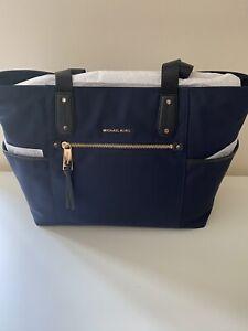 Michael Kors Polly Top Zip Tote Nylon Bag - Black/Blue - BNWT