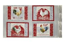 Rustic Red Rooster  Place-mat Panel Early To Rise (4) Fabric  Wilmington Prints