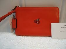 Coach Pac man Watermelon  Leather Pouch Wristlet / Wallet  F 54841  NWT $ 95