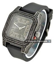 manly schwarzes ton eckig schwarz cz ice case dial watch black strap clubbing