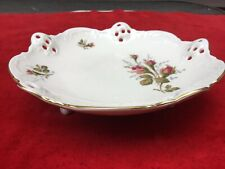 "VTG ROSENTHAL CHINA MOOSROSE RETICULATED FOOTED CANDY DISH 7,5"" DIAMETER GERMANY"