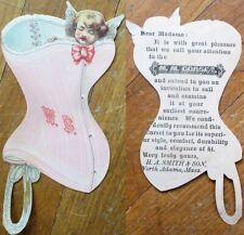 Corset Diecut 1890s Victorian Trade Card w/Cupid - 'M. M. Corsets'