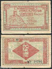 Billete Local AYUNTAMIENTO DE ALHAMA DE MURCIA 0,25 25 Centimos 1937  BC- / F-
