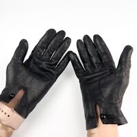 VINTAGE Black Leather Woman's Driving Gloves Size Small