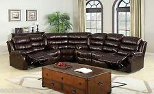 Upholstered Leather Like Vinyl Recliner 3Pc Sofa Loveseat Corner Chair Set Brown