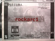 SEPULTURA Territory 1993 UK Press ADVERT 12x8 inches