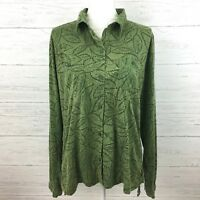 Woolrich Women's Green Leaf Print Long Sleeve Shirt Shirred Side Button Shirt L