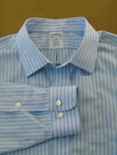Men Brooks Brothers Regent Striped Blue Non Iron Buttoned Dress Shirt 16.5 - 37