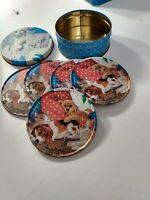 Vintage Coaster Set in Original Tin Box - Dog & Cat Theme - Metal on cork