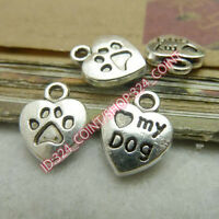 P1331 20pc Tibetan Silver Heart MY DOG Pendant Charms Beads Jewellery Craft