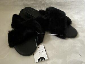 A New Day Women's Slide Sandals Slippers Sz 7.5 Frannie Shoes Black