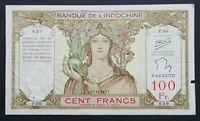 Tahiti 100 Francs Banknote~1939-1965 Papeete French Polynesia~P#14c~F+~#P.60 839
