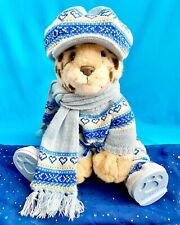 WINTER SNOW OUTFIT: BLUE KNIT HAT, SWEATER, SCARF & BOOTS   BUILD-A-BEAR CLOTHES