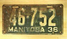 1936 MANITOBA CANADA LICENSE PLATE AUTOMOBILE CAR VEHICLE TAG ITEM 1143