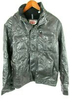 Levis Mens Medium Jacket Faux Leather Black Classic Motorcycle Trucker Lined