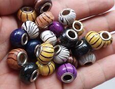 20pcs Multi-Colors wood Beads (Big Hole 5mm) fit European Charm Bracelet