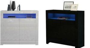 Modern Sideboard Storage Matt Body&High Gloss Doors Cupboard Cabinet w/LEDs