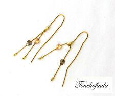 14K Tri Color Beautiful with Diamond Cut Beads Heart Threader Earrings 1.8 Gram