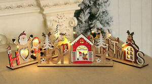 Large 3D Chritmas LED Wooden Xmas Tree Hanging Ornament Table Craft Gift AUStock