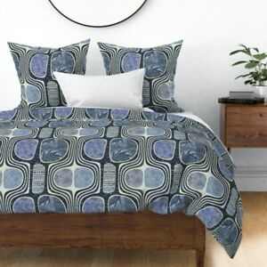 Spanish Tiles Traditional Blue Moroccan Morocco Sateen Duvet Cover by Roostery