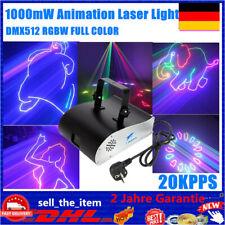 RGB Lasershow World 1W 1000mW DMX Bühnenlicht 3D Animation Laser DJ Stage Grafik