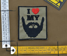 "Ricamata / Embroidered Patch ""I Love My Beard"" Coy. Tan with VELCRO® brand hook"