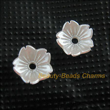 120Pcs White Plastic Acrylic Flower Leaf Spacer End Bead Caps Charms 10mm