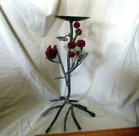 """Black Metal Wrought Iron Candle Holder Rustic 12"""" Tall Decor Cardinal and Berry"""
