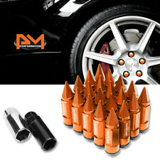 M12X1.5 Orange JDM Cone Spiked Cap Wheel Lug Nut+Extension 23mmx83mm Tall 20Pc
