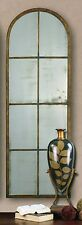 """HUGE 50"""" ANTIQUED BROWN HAND FORGED METAL ARCH SHAPED WALL MIRROR WINDOW STYLE"""