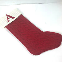 Embroiderd Stocking Red White Knit Letter A Christmas Eve Lined