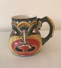 Vintage Made in Ceylon Folk Art Demon Face Coffee Mug Hand Painted Ceramic OLD