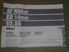 AF NIKKOR ED 14mm f/2.ZOOM LENS INSTRUCTION MANUAL-NIKON 35mm CAMERAS