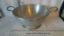 More details for vintage aluminium colander. with 2 handles and raised base .