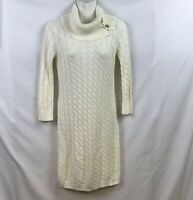 CALVIN KLEIN Sz S Ivory CABLE KNIT COWL NECK W/ Gold Bar Buttons Sweater DRESS