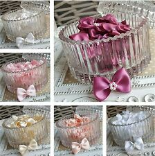 10 Satin Ribbon pre-tied bows with pearl flower centre. Pink White Peach Ivory